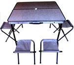 Снимка от Сгъваема маса за къмпинг със столове и отвор за чадър